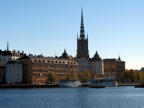Stockholm city in the fall with some boats