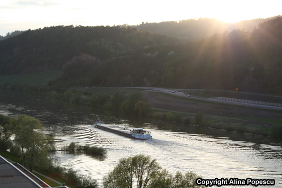 Boat on River in the Sunset - Trier