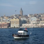 Galata Tower view from a ferry boat ride across continents